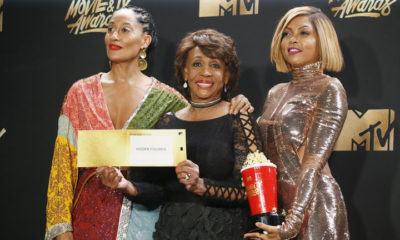 "2017 MTV Movie and TV Awards – Photo Room – Los Angeles, U.S., 07/05/2017 – Tracee Ellis Ross. Maxine Waters and Taraji P. Henson - Best Fight Against the System for ""Hidden Figures"". REUTERS/Danny Moloshok"